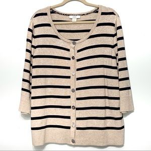 CJ Banks Striped Cardigan with Fabric buttons
